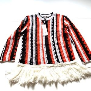 NWT English factory fringe striped sweater small